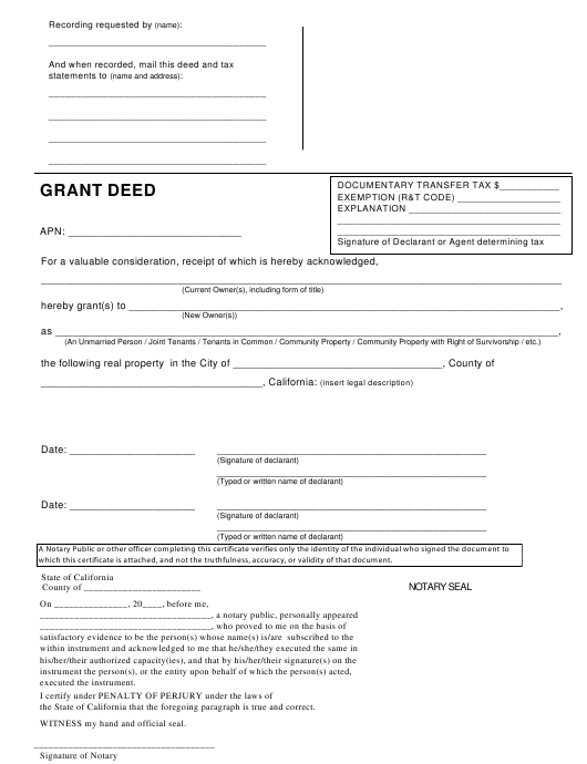 """Grant Deed Form"" - California Download Pdf"