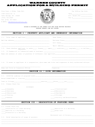 """""""Application for a Building Permit"""" - Warren county, New York"""