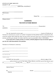"""""""Summons and Return of Service Form"""" - New Mexico"""