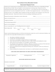 DA Form 22 Classroom Request Form - Fort Jackson Army Education Center