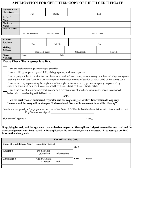 """""""Application for Certified Copy of Birth Certificate"""" - California Download Pdf"""