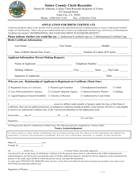 Application for Birth Certificate - Sutter County, California Download Pdf