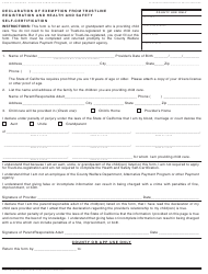 "Form CCP1 ""Declaration of Exemption From Trustline Registration and Health and Safety Self-certification"" - California"