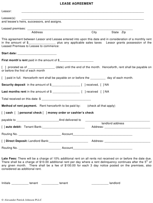 """Lease Agreement Template - Alexander Patrick Johnson Pllc"" - Florida Download Pdf"