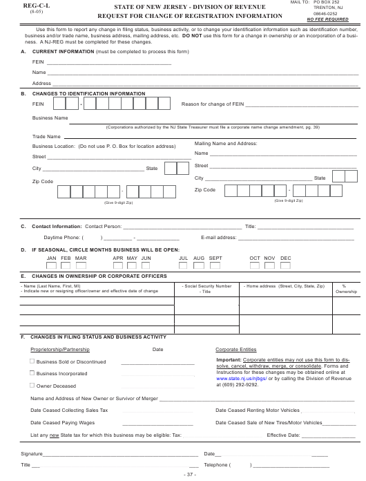 Form REG-C-L Printable Pdf