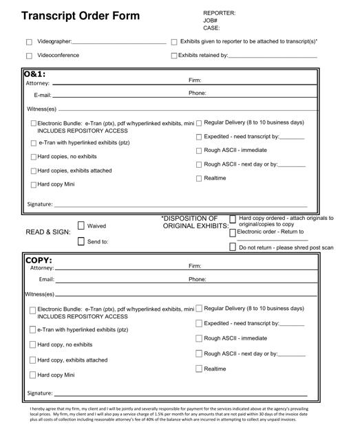 """""""Transcript Order Form"""" Download Pdf"""