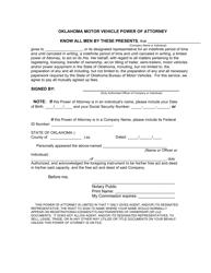 Oklahoma Motor Vehicle Power of Attorney Form - Oklahoma