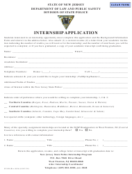 "Form S.P.806 ""Internship Application"" - New Jersey"