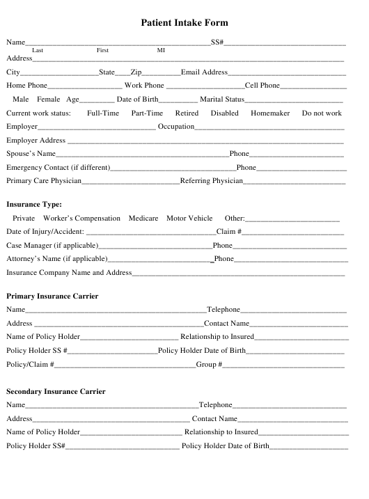 """Patient Intake Form"" Download Pdf"