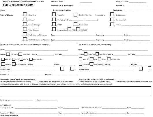 """""""Employee Action Form - Massachusetts College of Liberal Arts"""" Download Pdf"""