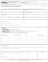 """Form AG-03007 """"Application for Apiary Inspection"""" - Minnesota"""