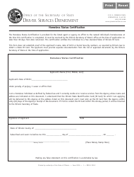 Homeless Status Certification Form - Illinois