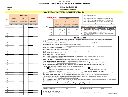 """""""Classified Bargaining Unit Monthly Absence Report Form - Victor Valley College"""" Download Pdf"""