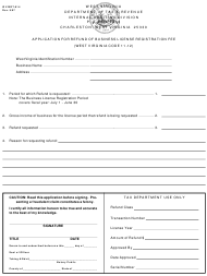 "Form WV/BRT-814 ""Application for Refund of Business License Registration Fee"" - West Virginia"