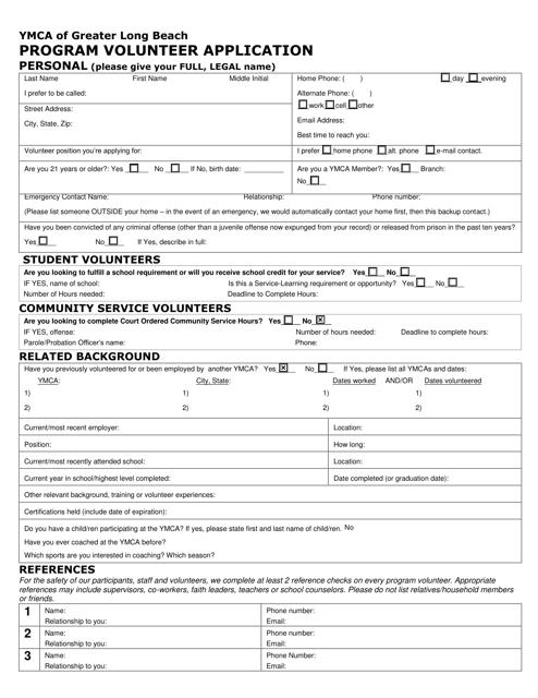 """Program Volunteer Application - Ymca of Greater Long Beach"" - California Download Pdf"