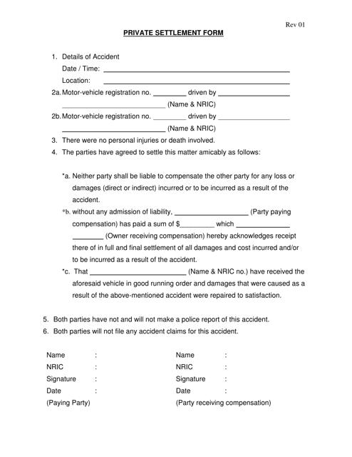 """Private Settlement Form"" - Singapore Download Pdf"