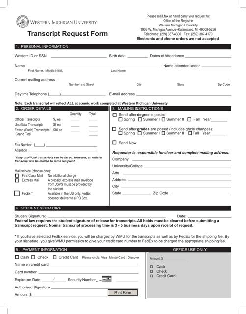 """Transcript Request Form - Western Michigan University"" - Michigan Download Pdf"