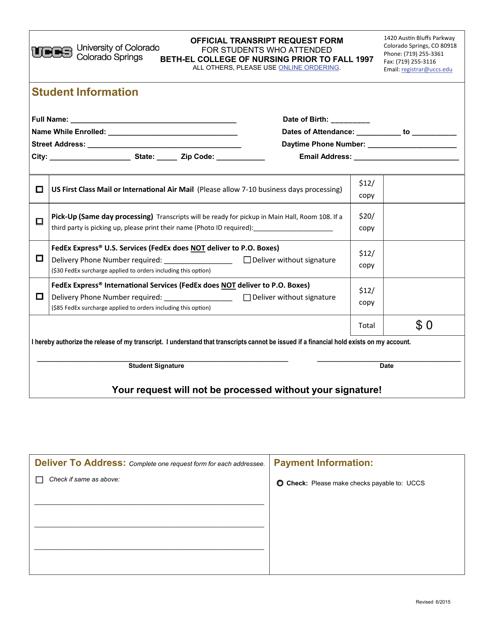 """""""Official Transcript Request Form - University of Colorado"""" - Colorado Springs, Colorado Download Pdf"""