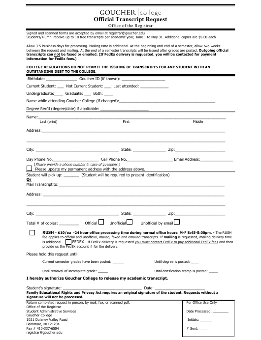 """""""Official Transcript Request Form - Goucher College"""" - Baltimore, Maryland Download Pdf"""
