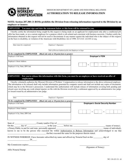 Form WC-126  Printable Pdf