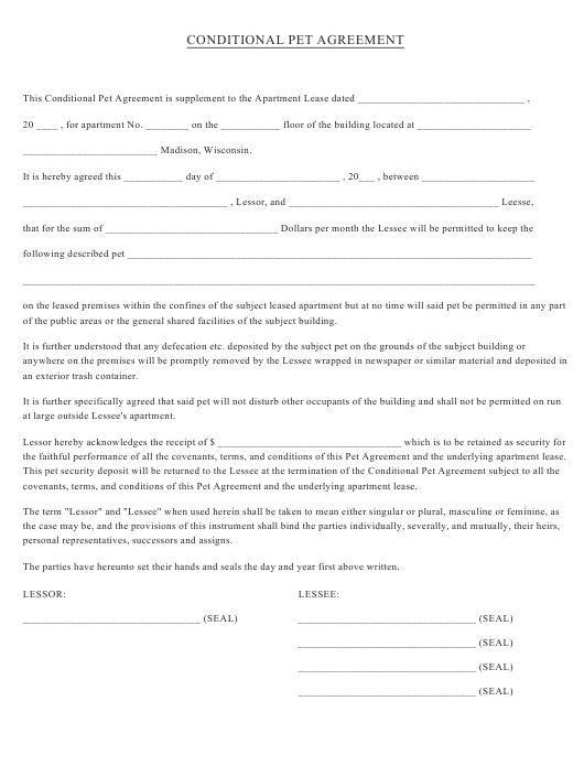 """""""Conditional Pet Agreement Form"""" Download Pdf"""