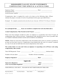 """Compensatory Time Approval & Accrual Form - Mississippi Valley State University"""