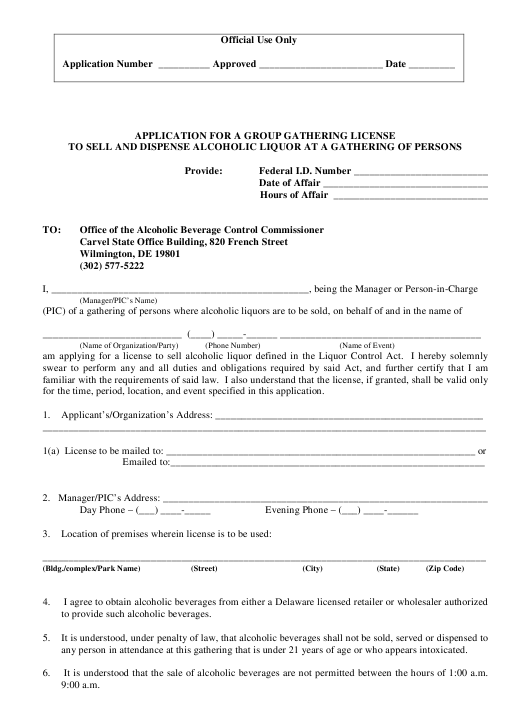 """""""Application Form for a Group Gathering License to Sell and Dispense Alcoholic Liquor at a Gathering of Persons"""" - Delaware Download Pdf"""