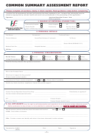 Common Summary Assessment Report Form - Ireland