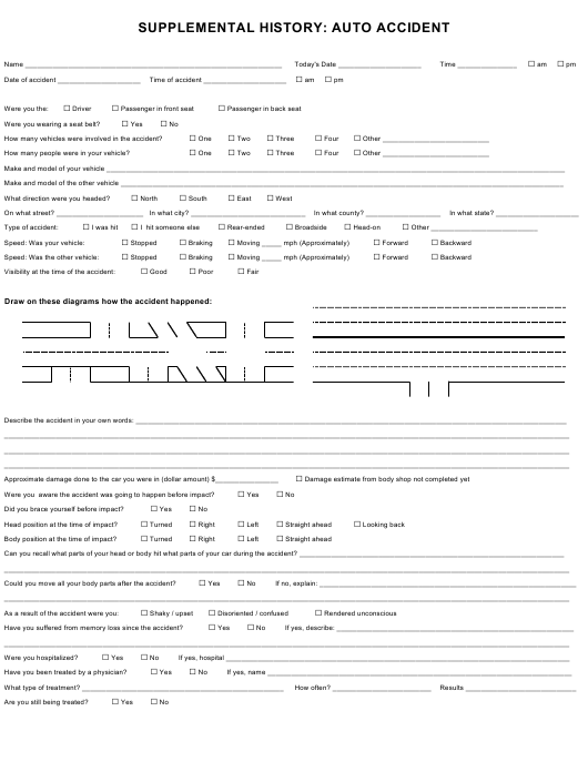 """""""Auto Accident Form - Supplemental History"""" Download Pdf"""