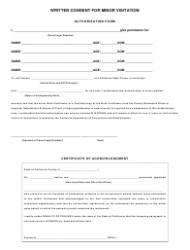 Written Consent for Minor Visitation: Authorization Form, Certificate of Acknowledgment Template - California