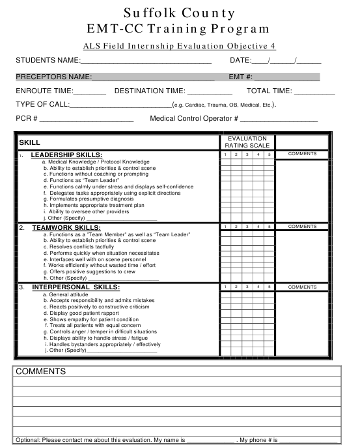 """Als Field Internship Evaluation Objective 4 - Emt-Cc Training Program"" - Suffolk County, New York Download Pdf"