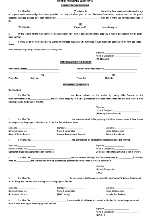 """""""Form of No Demand Certificate"""" - India Download Pdf"""