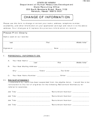 "HRD Form 390C ""Change of Information"" - Hawaii"