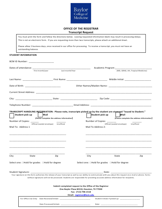 """Transcript Request Form - Baylor College of Medicine"" - Houston, Texas Download Pdf"