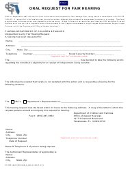 """Form CF-FSP5303 """"Oral Request for Fair Hearing"""" - Florida"""