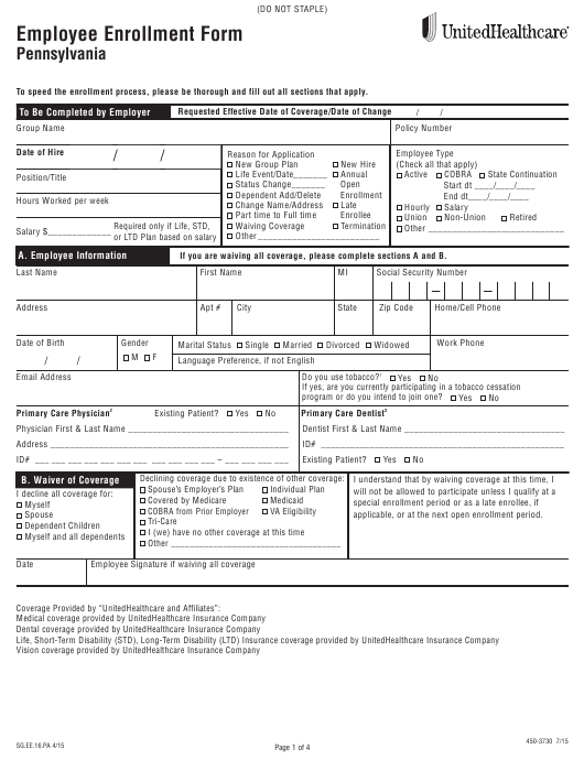 Form 450 3730 Download Fillable Pdf Or Fill Online Employee