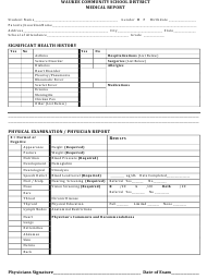 """Medical Report Template - Waukee Community School District"""