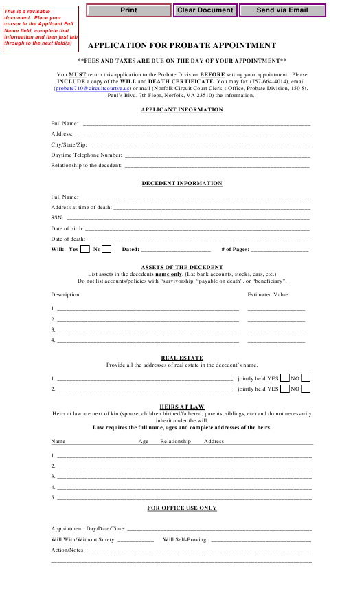 """Application for Probate Appointment"" - Norfolk, Virginia Download Pdf"