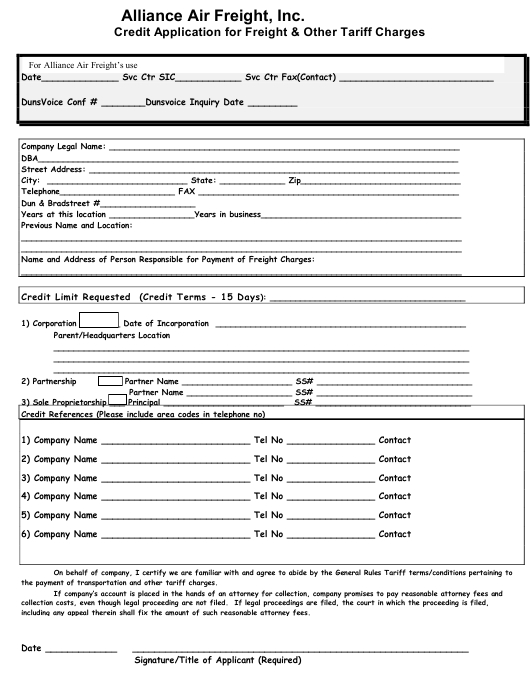 """""""Credit Application for Freight & Other Tariff Charges - Alliance Air Freight, Inc."""" Download Pdf"""