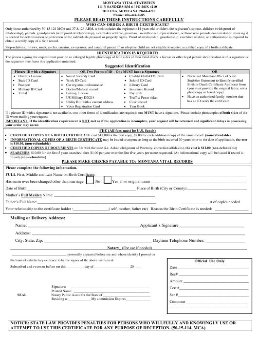 Birth Certificate Application Form Download Fillable PDF ...