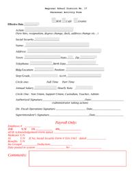 """Personnel Activity Form - Regional School District No. 17"""
