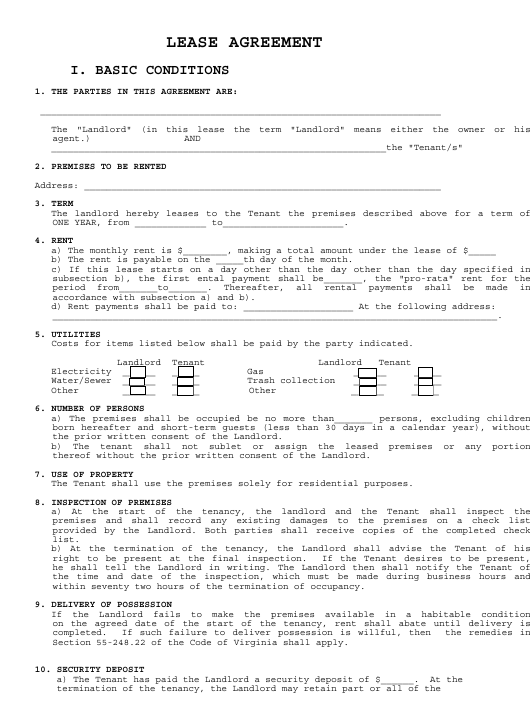"""""""Lease Agreement Template"""" Download Pdf"""