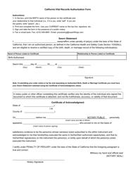 Ca Vital Records Authorization Form - California