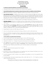 """""""Apartment Lease Application Form - Standard Realty Associates"""" - New York"""
