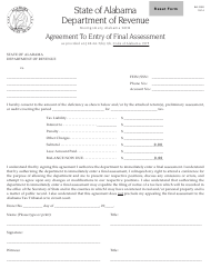 "Form BA: RS2 ""Agreement to Entry of Final Assessment"" - Alabama"