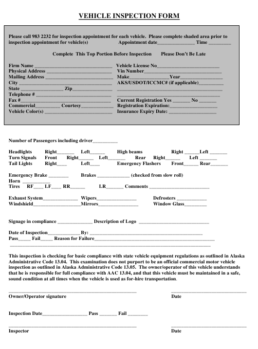 """Vehicle Inspection Form"" - Alaska Download Pdf"