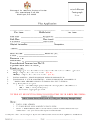 Jordan Visa Application Form - Embassy of the Hashemite Kingdom of Jordan - Washington, D.C.