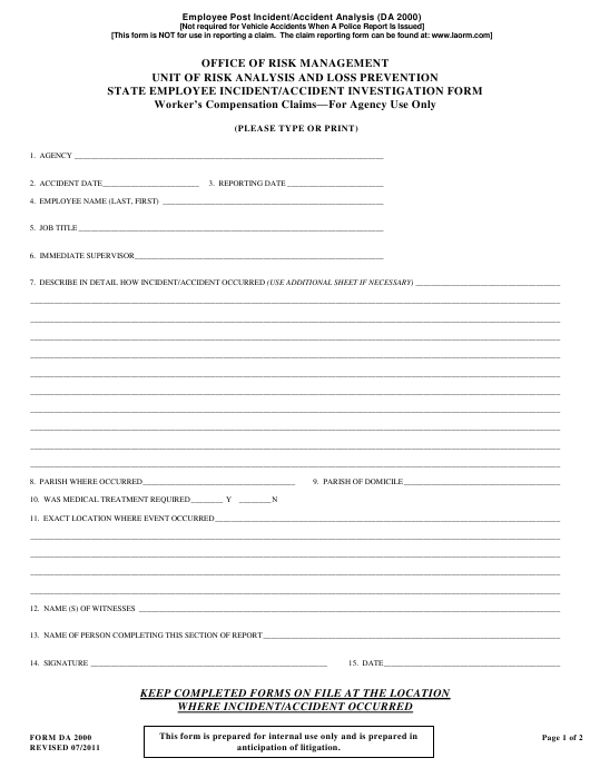 State Employee Incident/Accident Investigation Form - University of