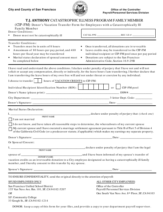"""""""Donor's Vacation Transfer Form for Employees With a Catastrophically Ill Family Member"""" - City and County of San Francisco, California Download Pdf"""