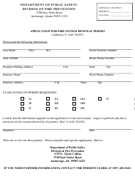 """Application for Fire System Renewal Permit"" - Alaska"